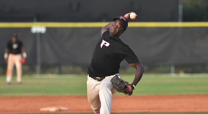 Shameko Smith struck out six and earned the win as the Eagles beat Eastern Florida 5-2. (Photo by Tom Hagerty, Polk State.)