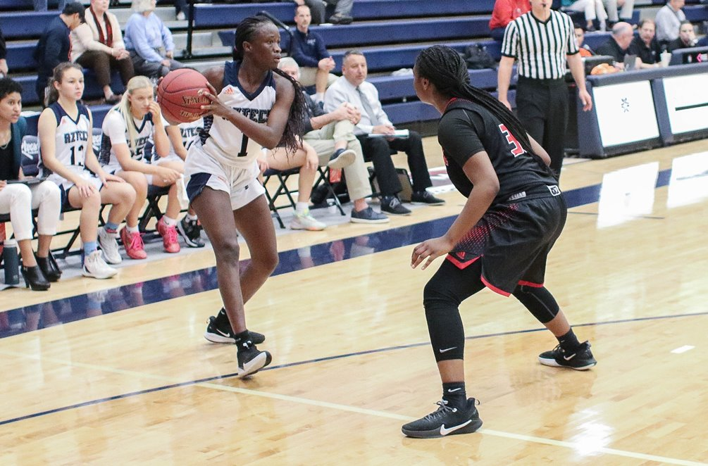 Freshman Fama Thiam (Highland HS) was one of four Aztecs in double figures as she finished with 12 points on 6 for 7 shooting in Pima's 79-45 win over Scottsdale Community College. The Aztecs improved to 16-7 overall and 10-6 in ACCAC conference play. Photo by Stephanie Van Latum