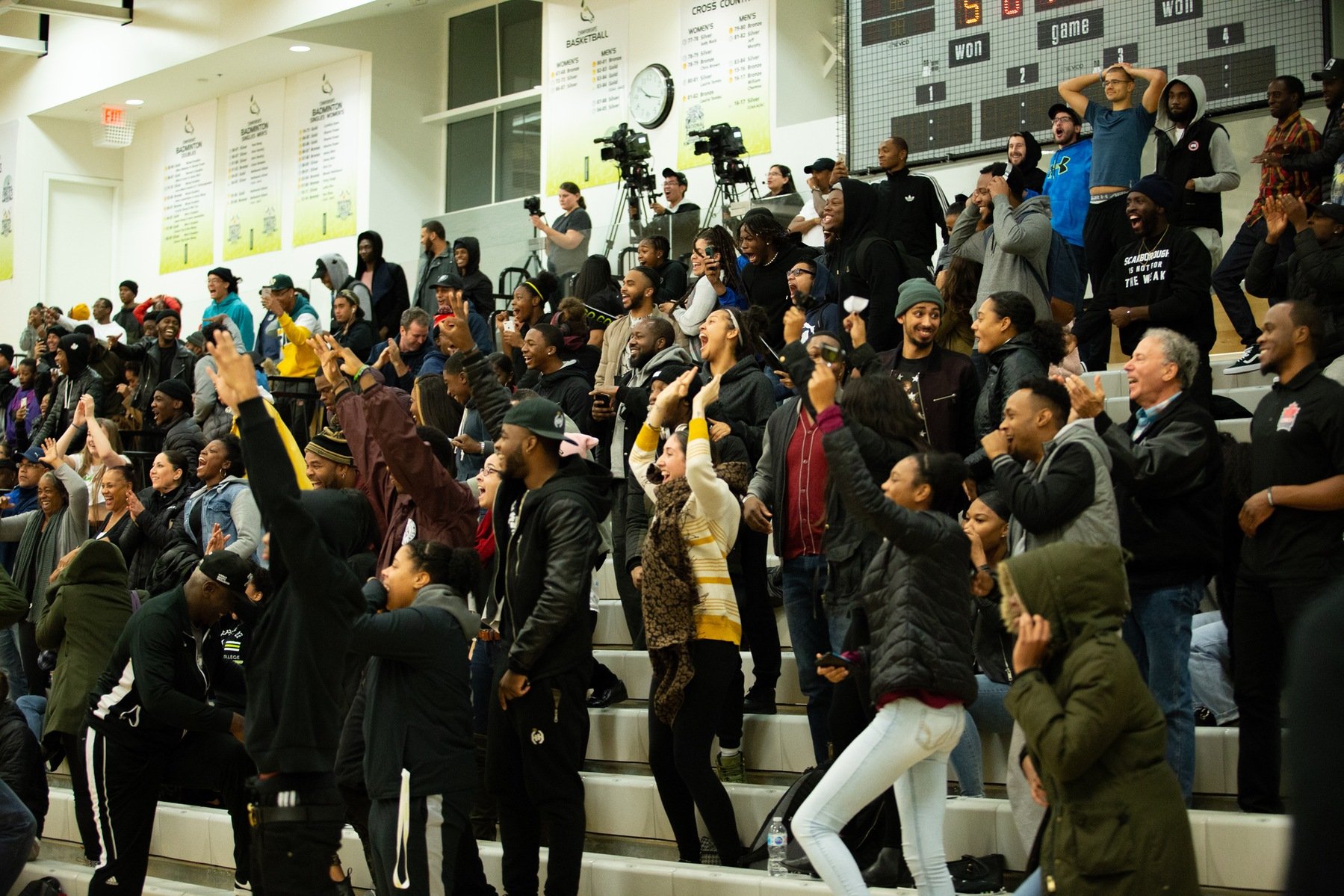 The fans at the Athletic and Wellness Centre go absolutely bonkers as Kyrin Henlin hits the go-ahead triple in the Centennial Colts' 72-71 victory over the defending CCAA champion Seneca Sting (Nicole Ventura/Colts Media).