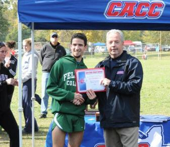 Rob Albano accepts the CACC Runner of the Year award from Commissoner Dan Mara. (Kirk Reed)