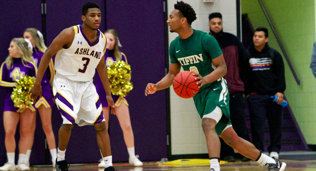 Tiffin's Terrell Mabins scored a team high 14-points in Tiffin's game with Ashland. (Photo credit Tom Puskar and the Ashland University Athletic Department.)