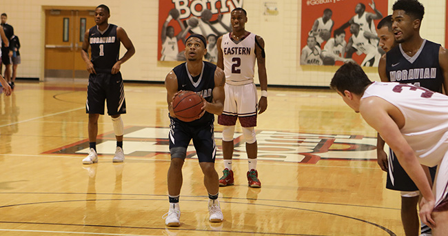 C.J. Barnes '20 attempts a free throw versus Eastern University in the Hoop MIA D3 Holiday Shootout played at Barry University in Miami, Florida.