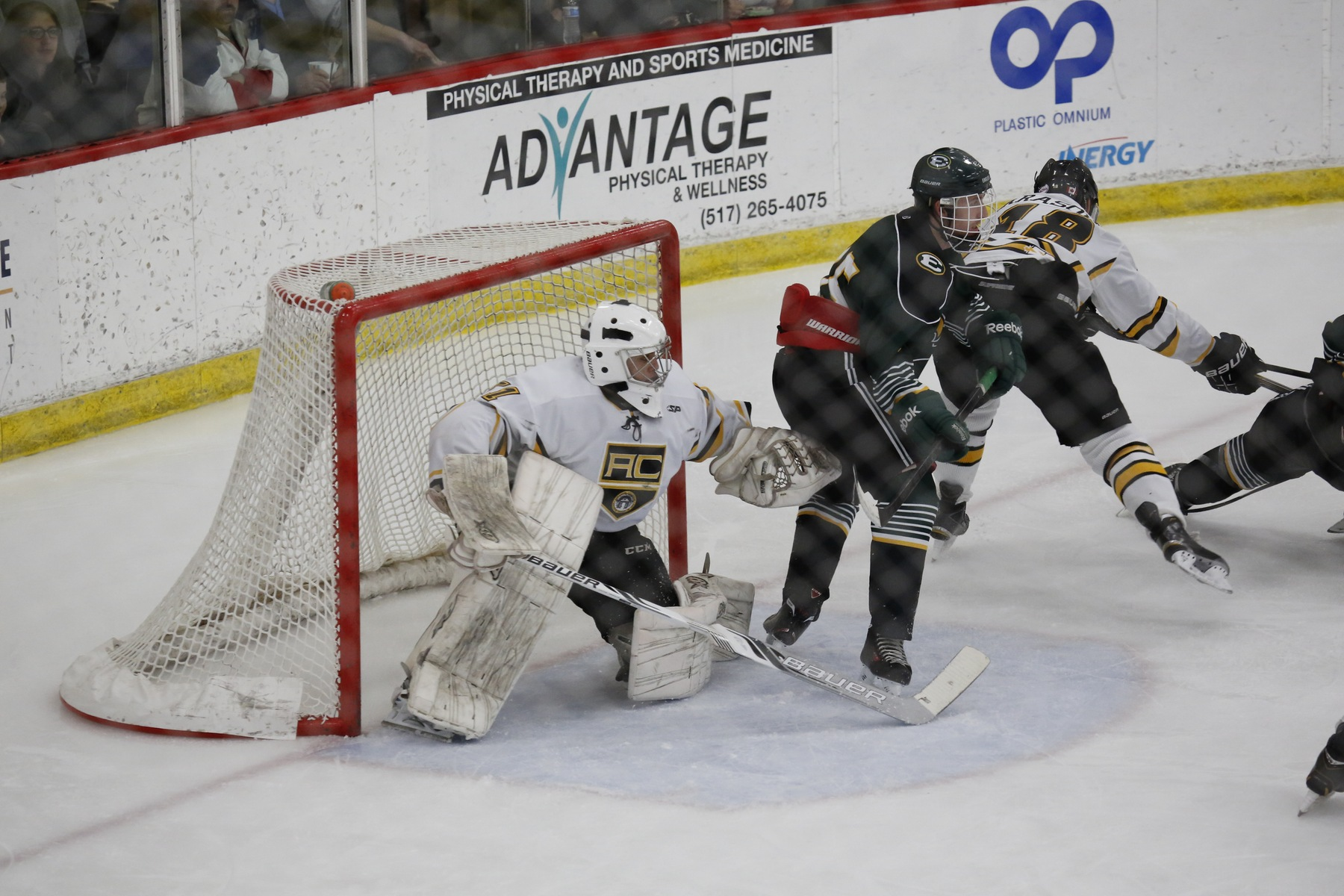Adrian senior goalie Austyn Roudebush fights seeing through traffic in a game. (Photo: Bulldog SID archives)