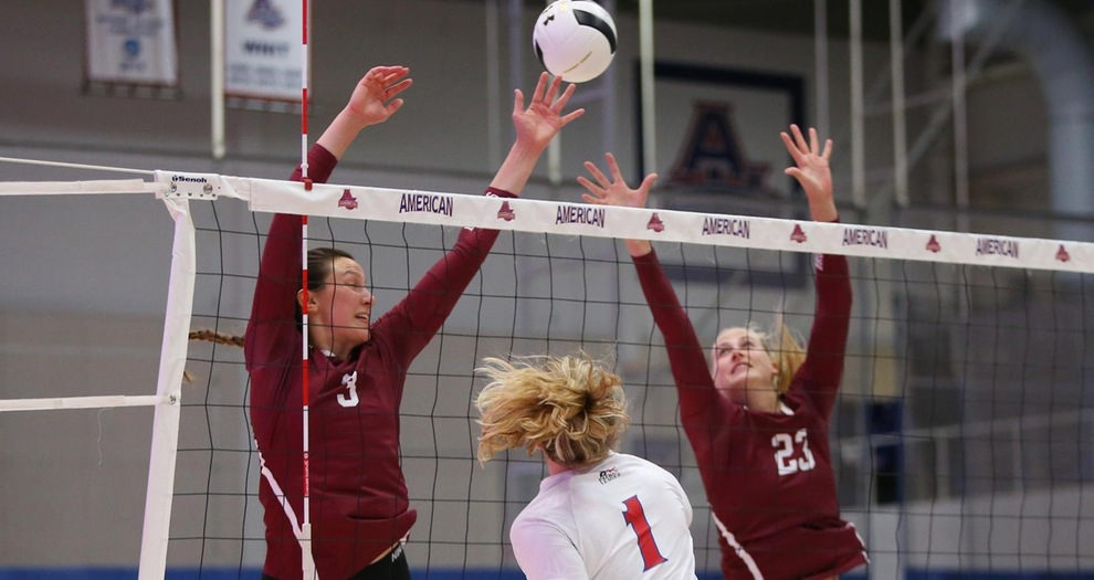 Volleyball Comes from Behind to Claim Five-Set Road Victory Against American