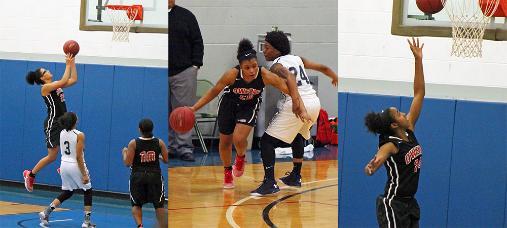 Owens won by 89 points on Saturday behind plays from Jeryn Reese, Sybil Roseboro and Ariel Bethea (L to R). Photos by Nicholas Huenefeld/Owens Sports Information