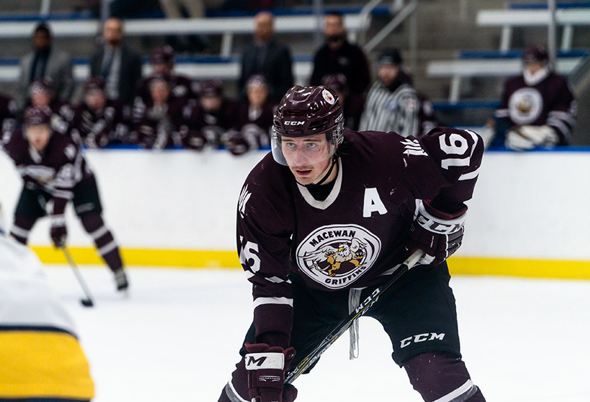 Ryan Baskerville scored MacEwan's lone goal on Friday night in a 2-1 loss to NAIT (Matthew Jacula photo).