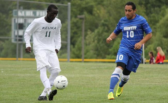 Sophomore Paulin Kolodja scored a goal and added an assist as the Keuka College men's soccer team remained perfect in conference play with a 3-0 shutout of Wells College Saturday (photo courtesy of Ed Webber, Keuka College Sports Information department).