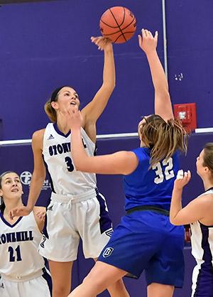 19 Women's Basketball Balanced in Win Over SNHU, 75-65
