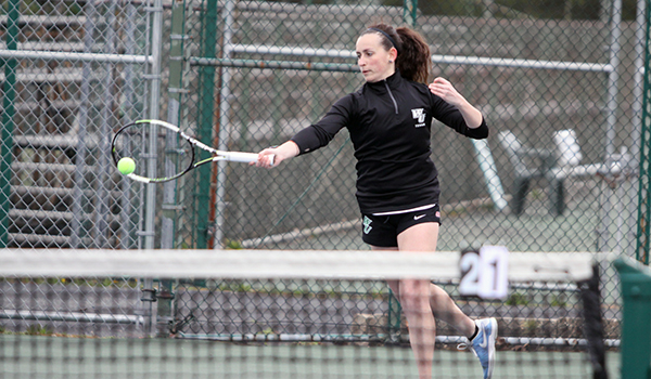 Copyright 2017; Wilmington University. All rights reserved. Photo of Laura Gil during her doubles match against Millersville.
