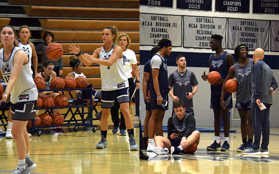 The men's and women's basketball teams during Hoops Mania 2018 in Johnston Hall.