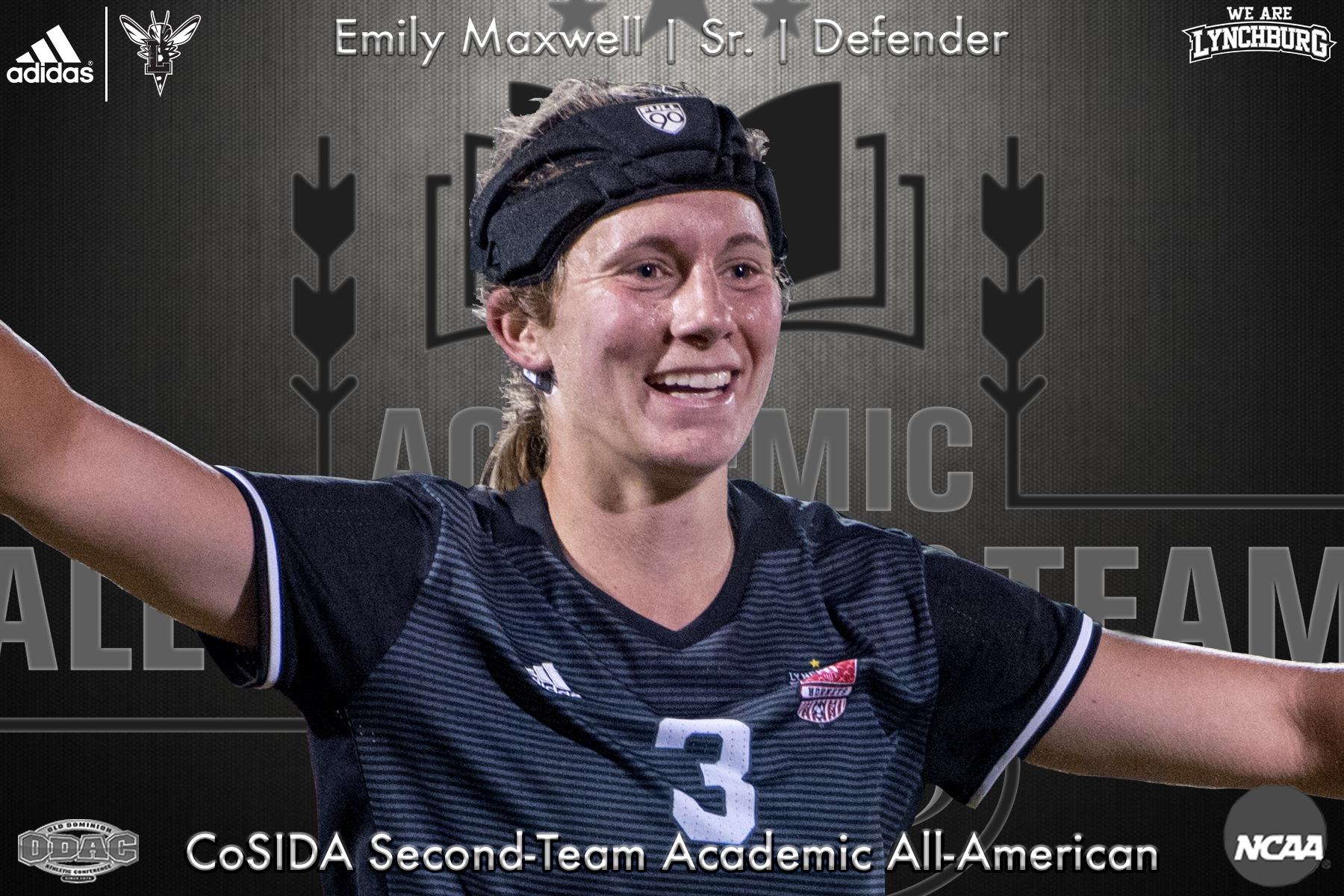 Emily Maxwell smiles as she hugs a teammate. The senior defender was named second-team Academic All-America by CoSIDA.