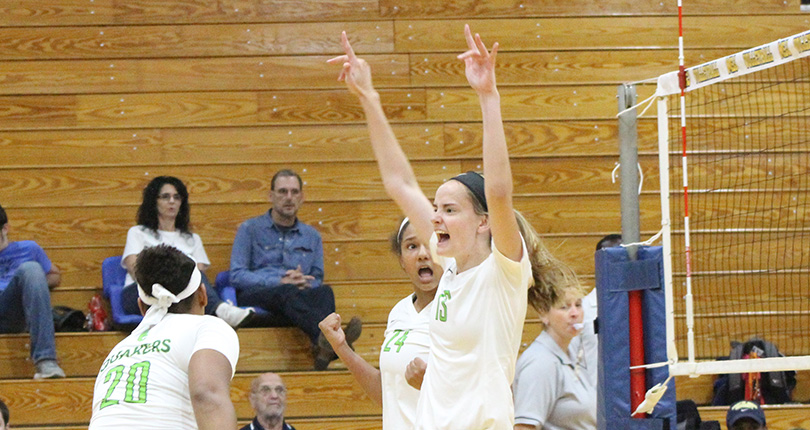 Sophomore Meghan Koch celebrates her second-set ending kill. (Wilmington Athletic Communications Photo)