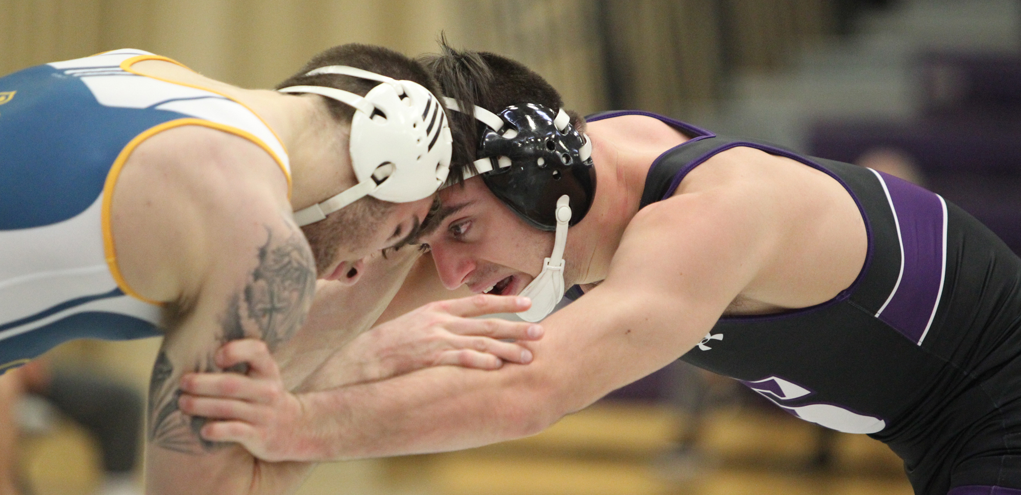 Senior Kevin Merle moved into sole possession of second place on Scranton's all-time pins list on Saturday. © Photo by Timothy R. Dougherty / doubleeaglephotography.com