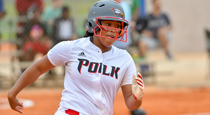 Victoria Perry singled twice, walked twice, and drove in a run in two games against South Florida. (Photo by Tom Hagerty, Polk State.)