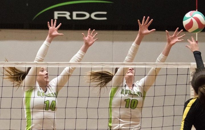 The RDC Queens finished with 13 stuff blocks in the win over NAIT. Photo - Tony Hansen