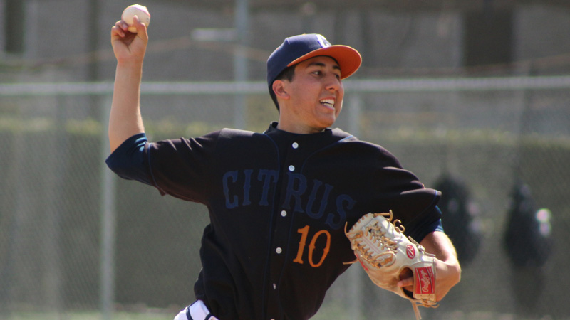 Sophomore Roberto Baldanebro pitched a complete game on Friday afternoon, the second of his career, as the Owls swept Barstow College with a 12-3 victory. Photo By: Mykenna De Avila