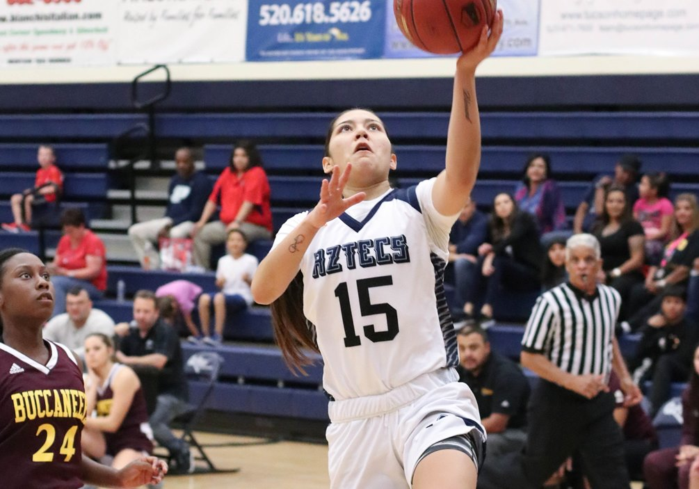 Sophomore Alyssa Perez (Marana HS) posted a double-double of 17 points and 11 rebounds but the Aztecs women's basketball team fell short against Central Arizona College 74-70. The Aztecs are now 4-3 overall and 1-2 in ACCAC conference play. Photo by Stephanie Van Latum