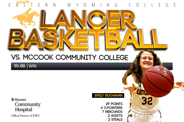 Eastern Wyoming College Lady Lancer Basketball vs. McCook Community College Basketball