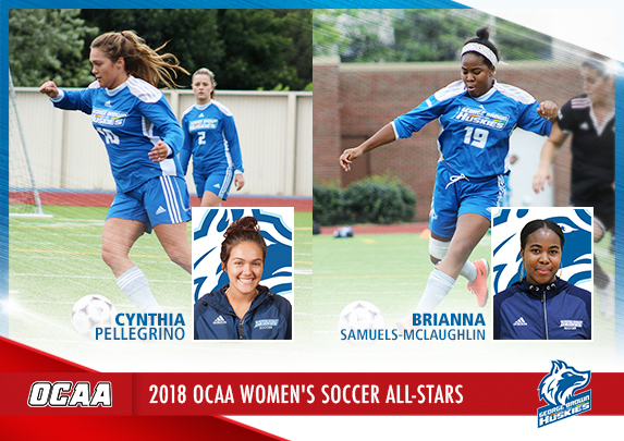 HUSKIES BRIANNA SAMUELS-MCLAUGHLIN, CYNTHIA PELLEGRINO NAMED OCAA ALL-STARS