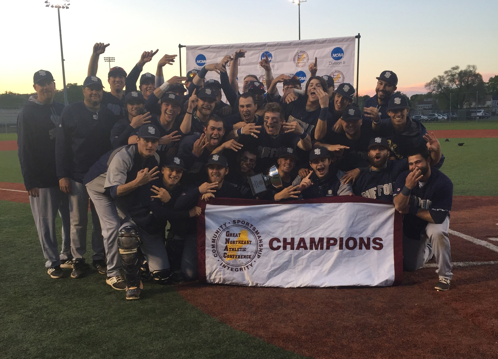 GNAC CHAMPS! Baseball Threepeats with 1-0 Win over JWU
