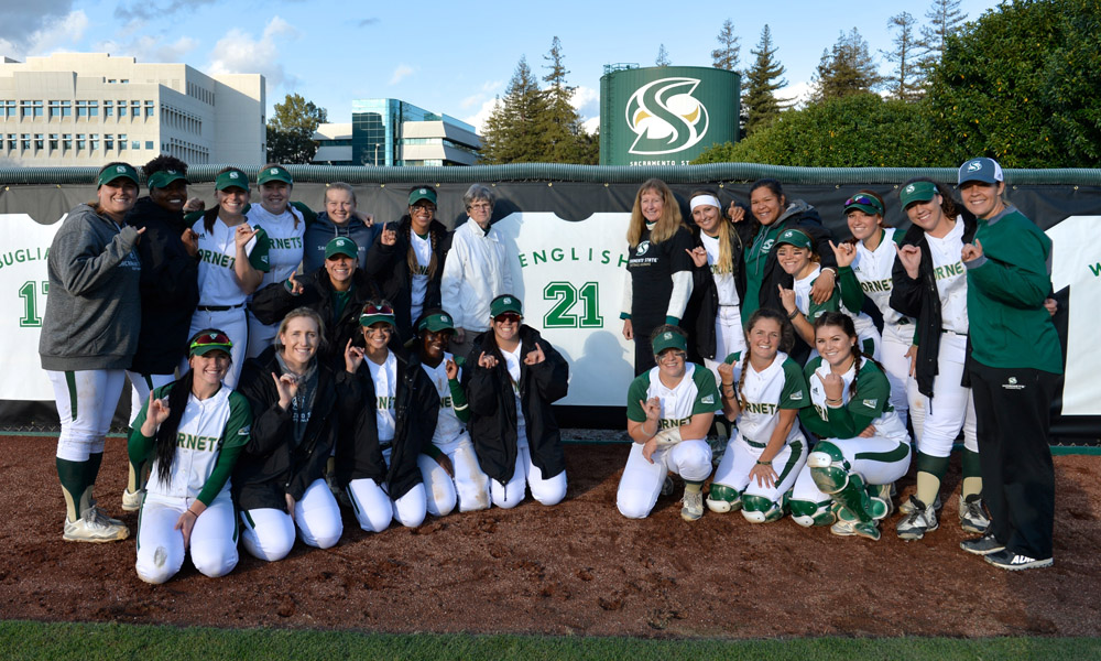 SOFTBALL BEATS MONTANA, 5-3; JOANNE ENGLISH'S #21 JERSEY RETIRED