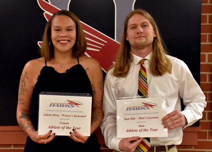 Women's basketball player Juliette Harp and men's lacrosse player Sam Hitt were honored as the Huntingdon Female Student-Athlete of the Year and Male Student-Athlete of the Year during Wednesday night's Awards Ceremony.