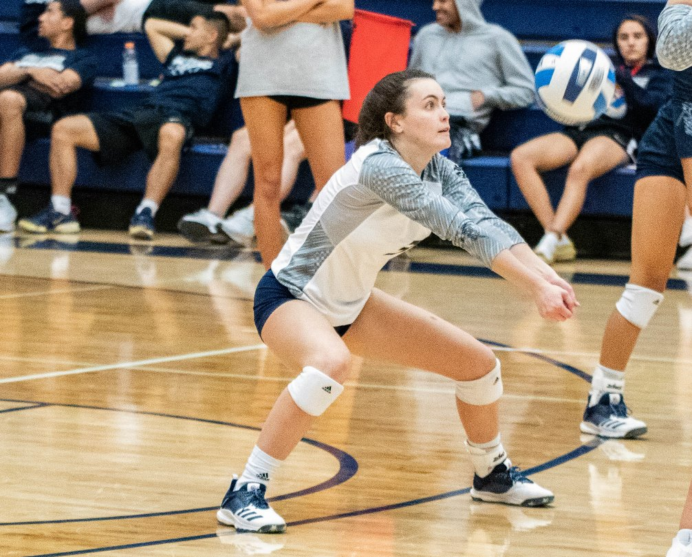 Sophomore Grace Adams (Sabino HS) finished with nine digs in Pima's straight set win over Park University-Gilbert in a non-conference match. The Aztecs improved to 7-10 overall. Photo by Stephanie Van Latum