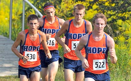Four Hope runners on the course together in a pack