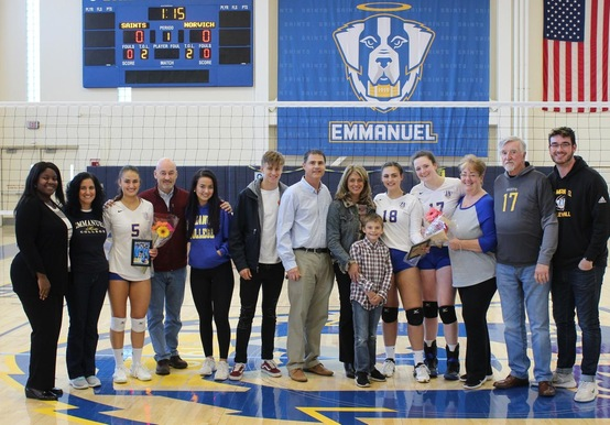 Women's Volleyball Celebrates Senior Day; Drops Pair to Regis and Norwich