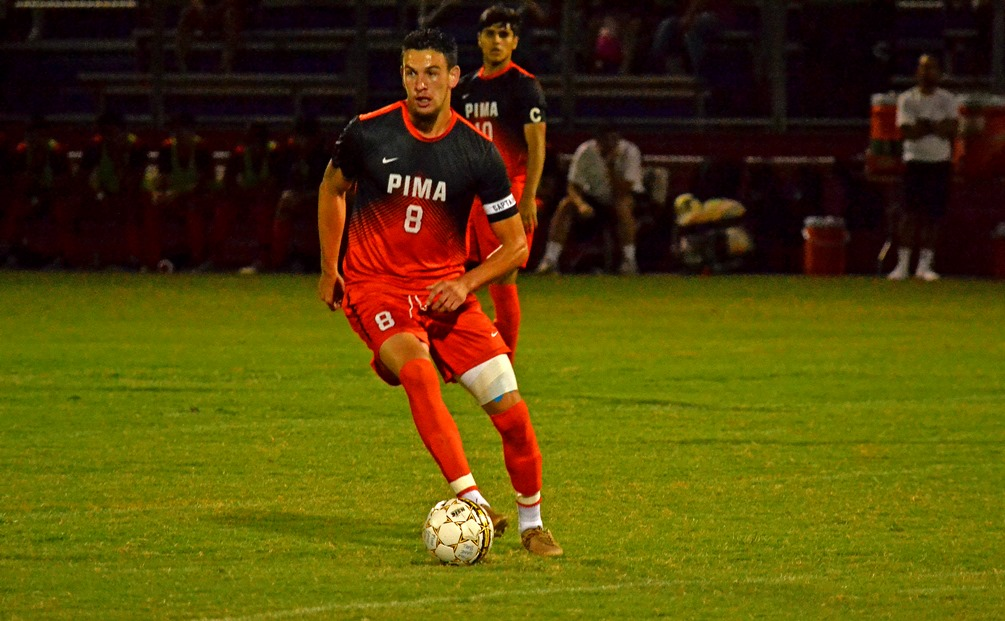 Sophomore AJ Valenzuela scored on a breakaway late in the second half to help seal Pima's 3-0 win over No. 9 ranked Phoenix College. The No. 8 ranked Aztecs are 10-1-2 overall and have won eight of their last nine games. Photo by Ben Carbajal.