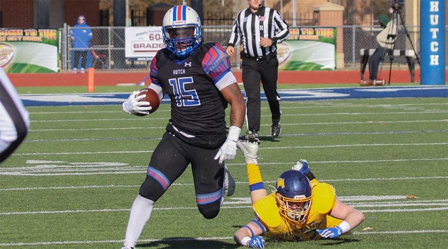 Offensive MVP Tiyon Evans rushes for a Salt City Bowl-record 194 yards and two touchdowns as the No. 3 Blue Dragon defeat No. 18 Monroe 45-23 on Saturday at Gowans Stadium. (Nathan Addis/Blue Dragon Sports Information)