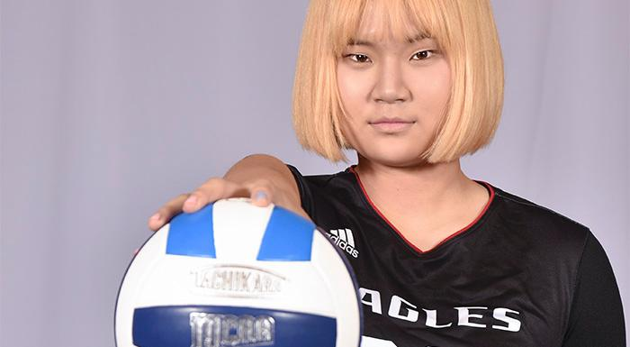 Yue Wu has been named NJCAA Region 8/FCSAA Volleyball Player of the Week. (Photo by Tom Hagerty, Polk State.)
