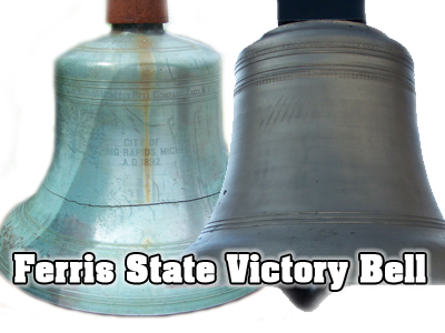 The original Victory Bell shown of left was permanently replaced in 2008 at Top Taggart Field by the new Victory Bell displayed on the right.
