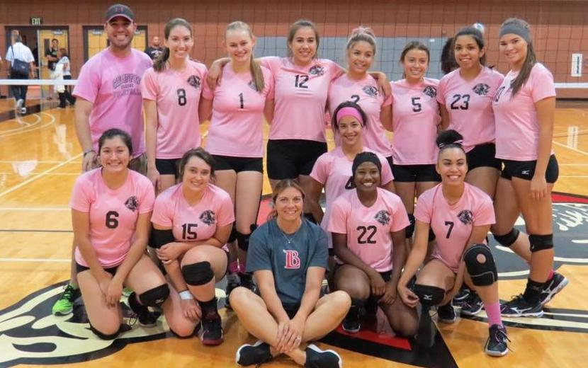 VOLLEYBALL - PANTHERS SUPPORT BREAST CANCER AWARENESS AT LONG BEACH GAME