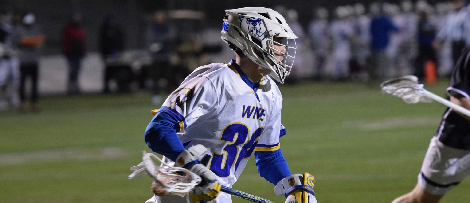 Junior John Shahpazian recorded three goals and one assist in Western New England's 14-12 win over Nazareth in Tampa, Florida on Friday night. (Photo by Rachael Margossian)