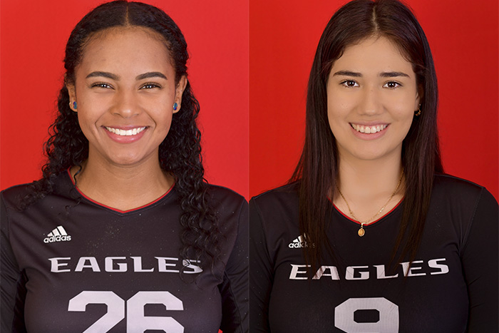 Manuela Ibarguen (left) and Aixa Vigil earned places on the all-tournament team at the Rose City Volleyball Classic in Tyler, Texas.