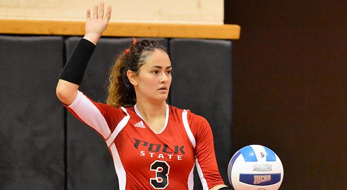 Alejandra Robles led the Eagles tonight with 50 assists. (Photo by Tom Hagerty, Polk State.)
