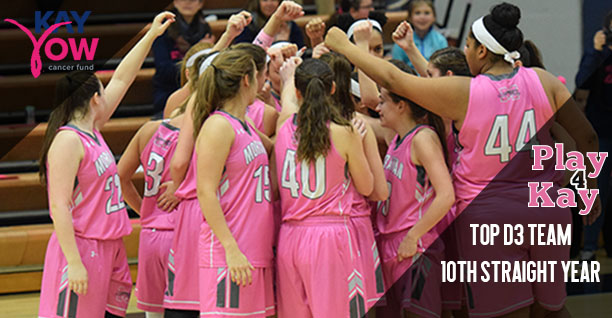The women's basketball team huddles before its annual Play4Kay game in 2018.