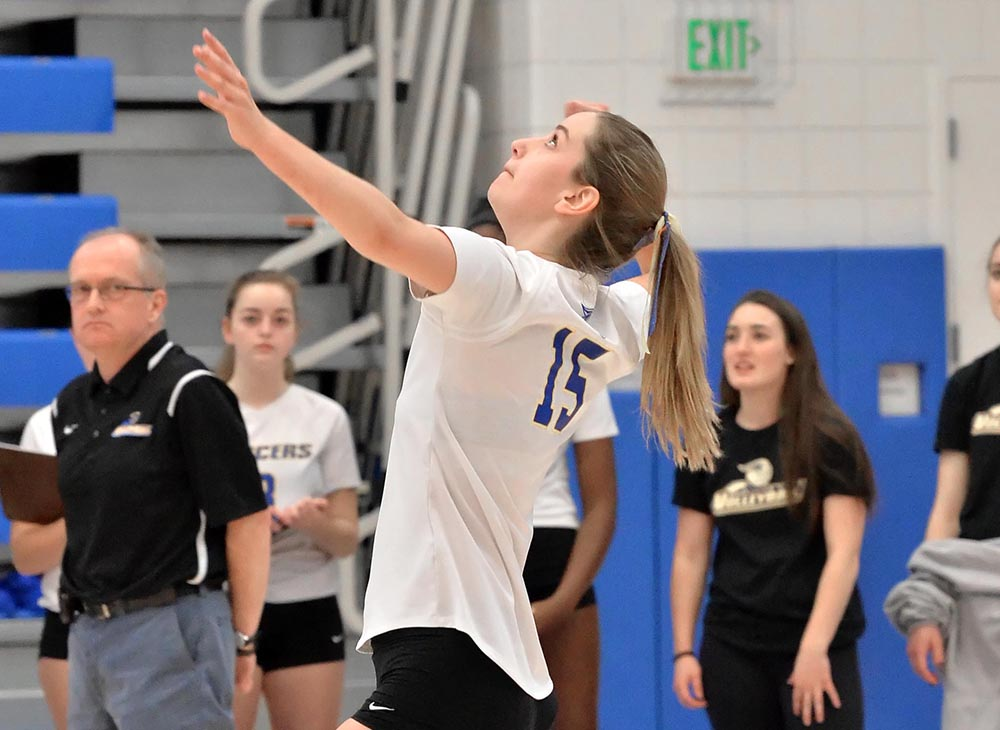 Carens Records Double-Double in 3-0 Loss to Anna Maria College