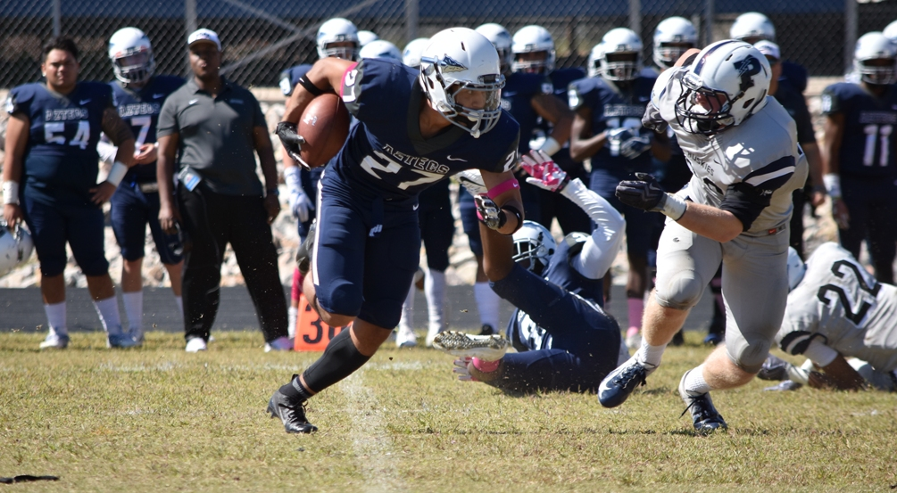 Sophomore Macarius Blount (Mountain Pointe HS) intercepted a pass late in the fourth quarter but the No. 16 ranked Aztecs couldn't hold on as they fell to Arizona Western College 24-20 on Saturday in Yuma. The Aztecs close out the regular season at 6-3 overall and 4-2 in WSFL play. The Aztecs are bowl eligible. Photo by Ben Carbajal