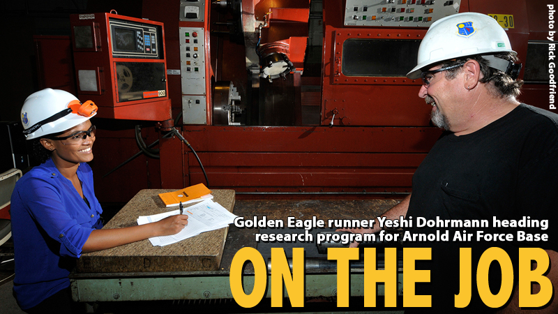Golden Eagle runner in research internship at Arnold Air Force Base