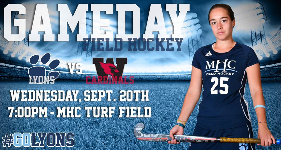 Photo promoting field hockey's home game on Wednesday, September 20, 2017 against Wesleyan at 7pm on the turf field.