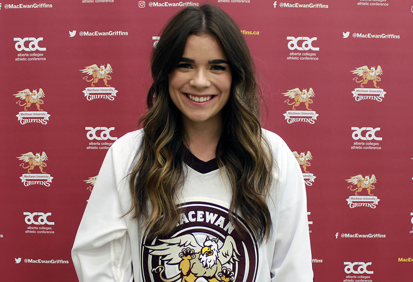 Alex Thomson has embraced regular duty on the MacEwan women's hockey blueline this season after spending much of the 2018-19 campaign - her first in the ACAC - as an understudy (Jefferson Hagen photo).