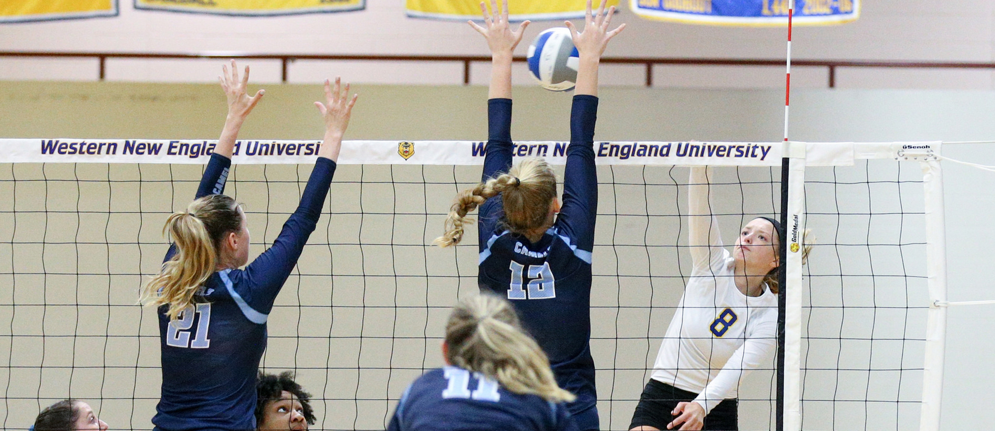 Junior Ashley Matthews posted a double-double with 16 kills and 17 digs in Western New England's 3-1 loss to Wentworth on Wednesday night. (Photo by Chris Marion)