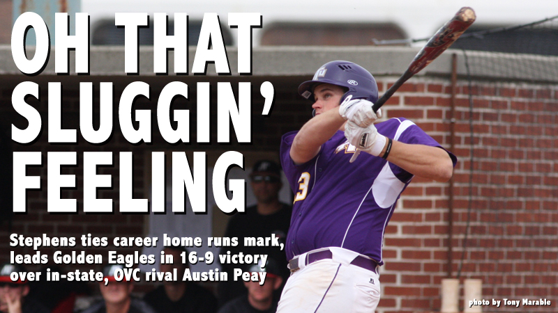 Stephens matches career home run mark, Tech rolls to 16-9 victory over Austin Peay