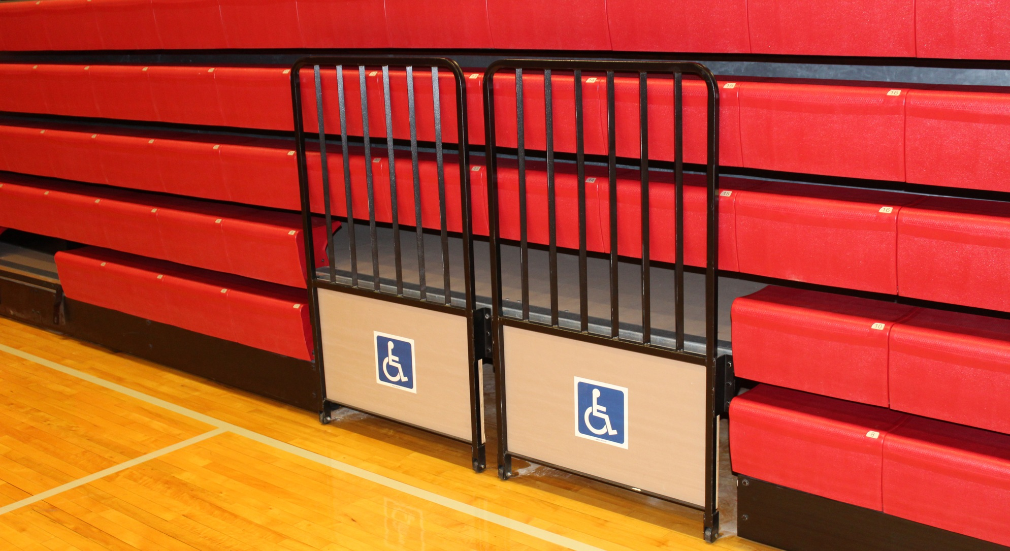 photo of wheelchair accessible spots in bleachers