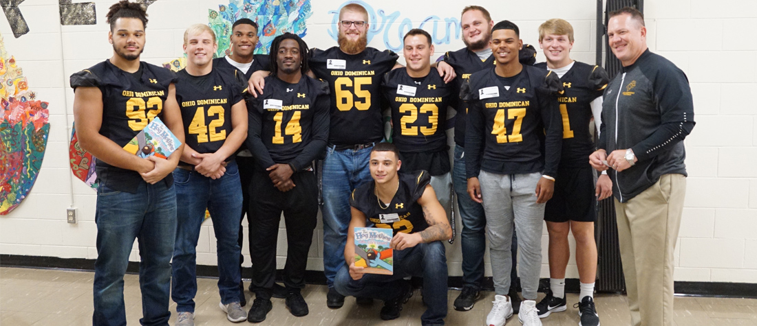 Football Visits Nearby Elementary Schools