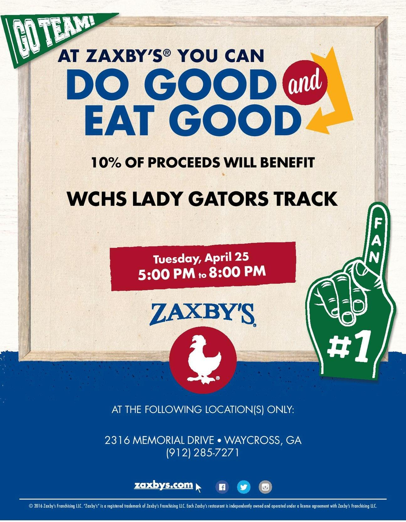 Join the Ware County Girls Track Team at Zaxby's Tuesday