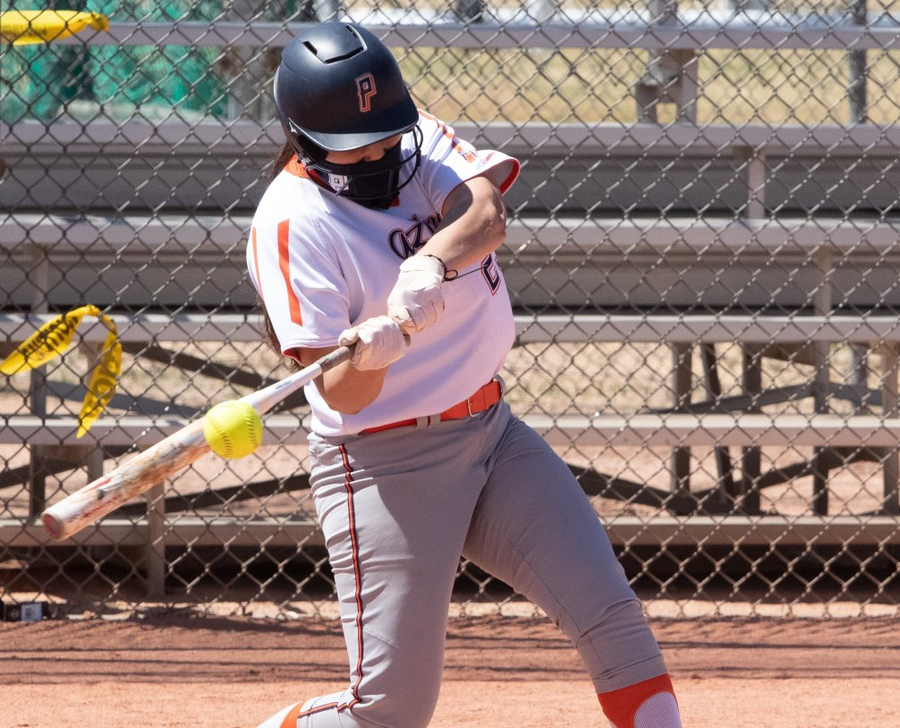 Freshman Isabella Escobar went on an offensive tear as she finished the day 3 for 5 with seven RBIs and two runs scored. She fell a single short of hitting for the cycle and capped off the second game with a grand slam. The Aztecs are now 4-2 on the season. Photo by Stephanie Van Latum