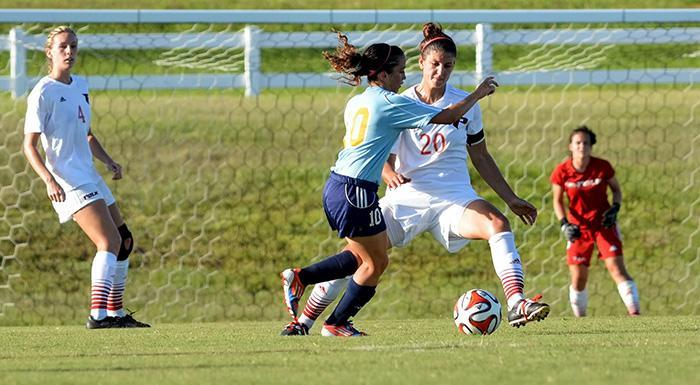 Elyse Fontechhio scored a goal and had two assists to help the Eagles get their first win of the year. (Photo by Tom Hagerty, Polk State.)